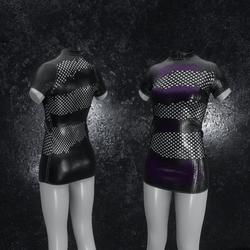Dress Mila Latex Holes black purple