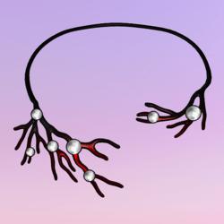 Bare Tree Choker wPearls Red-White