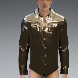 Male - Sparkling Gold Metallic Long Sleeves Shirt