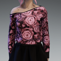 Pastel Pink Roses Pattern Pullover oneshoulderfree