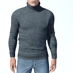 Mens Grey Turtleneck Sweater