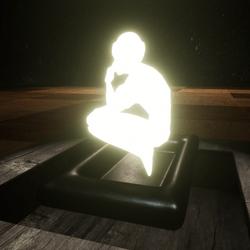 TABLE LIGHT SCULPTURE THINKING HUMAN - DARK METAL BASE(SCRIPTABLE)