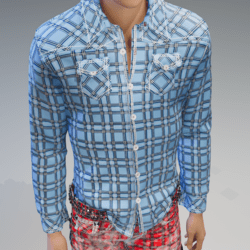 Hyper Blue Plaid Long Sleeves Shirt - Male