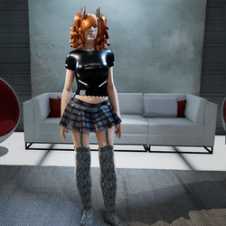 Female Plaid Skirt with Stockings