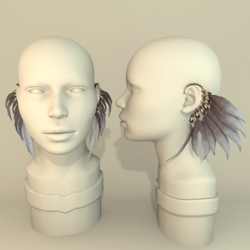 Feather earrings - WHITE/GREY