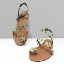 Ring toe sandals for Alina - green