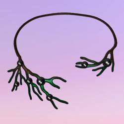 Bare Tree Choker wPearls Green-Black