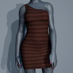 One Shoulder Striped Dress - Brown
