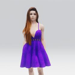 Kawaii Purple Laced Mini Summer Dress