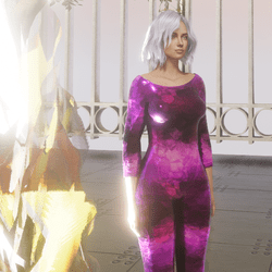 purple foil jumpsuit
