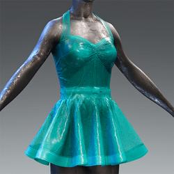 Latex Rubber Dress Short turquoise translucent