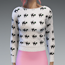 White Pullover with crazy Cats Print knitted