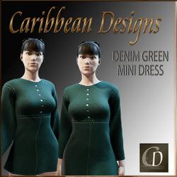 Denim Green Mini Dress