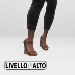 Red Glimmer Fusion Wedge Heels