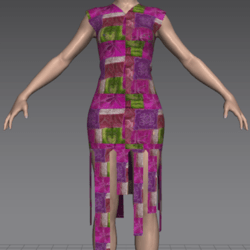 FREE Funky Purple Patchwork Dress with Hanging Panels