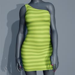 One Shoulder Striped Dress - Lime
