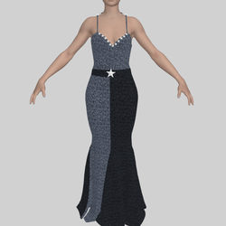 Evening Gown Grey Sequin with 3D stars