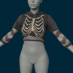 Double Shirt Bones White (Clothing) - Female