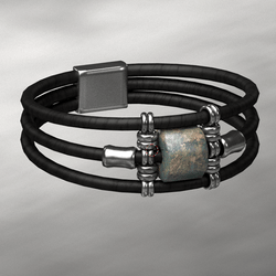 Wrapped Bracelet Silver and Black Female