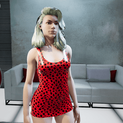 Female Red Cheetah Cocktail Dress