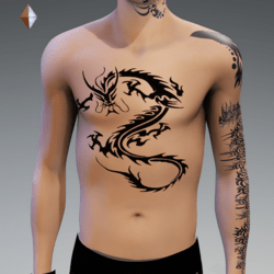 DRAGON 1 TATTOO CHEST MALE