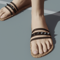 Sandal black strips with studs