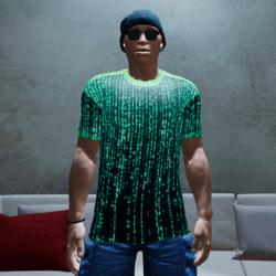 Matrix T-shirt With Animated Emissive Texture