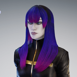 PM - Female Hair 01 - Pink Violet Color
