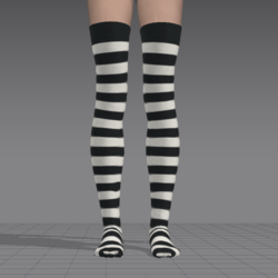 Stocking - Striped Black & White *UPDATED*