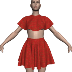 Poncho Caped Top & Skirt Set - Strawberry