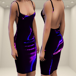 Latex Electric Pink and Blue Sexy Dress