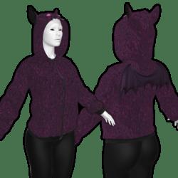 Unisex Halloween Hoodie with Bat wings and Bat ears