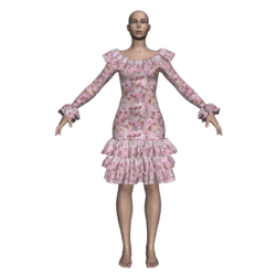 Ruffled Salsa Dress LS - Pink Fairies
