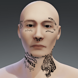 Taxi B Face Tattoo male