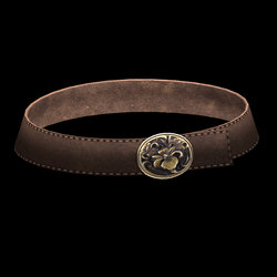 Brown Leather Belt with Flower Buckle