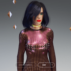Female - Gold Hearts with Black Trims Full-Body Net-Suit