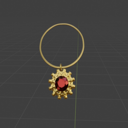 Steampunk Gear and Ruby Necklace