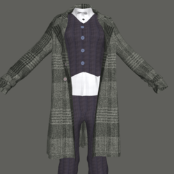 Pantssuit with Tweed Trenchcoat