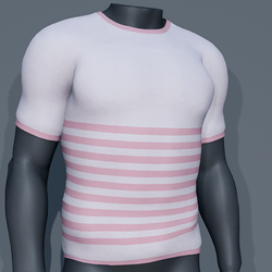 Men - Stripes Tee-Shirt - Pink