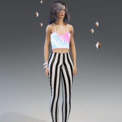 Female - B&W Stripes leggings