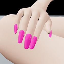 Pink Fuchsia False Fake Nails Long