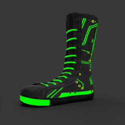 High Sneakers Black green neon female shoes
