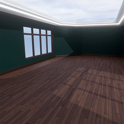 Skybox - Green and Dark Brown - The Little Room With Ceiling Lamp