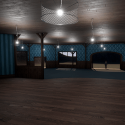 Corner Saloon - Blue - With Ceiling Lamps