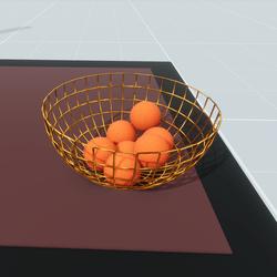 Gold Fruit Basket With Oranges