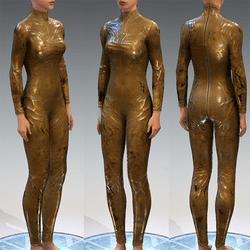 Bodysuit Rubber Catsuit Latex Light Gold Translucent