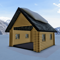 Christmas house with snow on Roof
