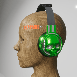 skull headphones (electric green)