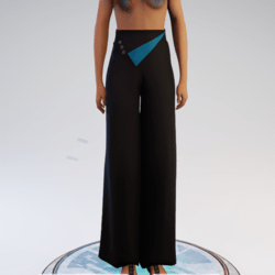 Palazzo Pants - Black and Teal Polyester