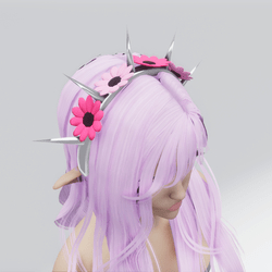 Spiked Flower Headband (Pink)